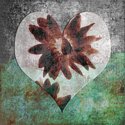 Layered Digital Art Posters - With All My Heart Poster by Bonnie Bruno