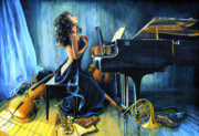 Musical Instrument Paintings - With Passion by Hanne Lore Koehler