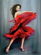 Dancer Art Painting Posters - With Passion Poster by Joan Garcia