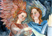 Angels Drawings - With Peace on Earth by Mindy Newman