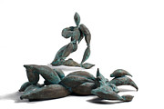 Bronze Sculpture Metal Prints - With Seed and Monarchs Hero Metal Print by Adam Long