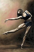 Dancer Painting Prints - With Strength and Grace Print by Richard Young
