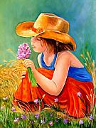 Cowgirl Paintings - With These Hands--Wonder by Carol Allen Anfinsen