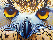 Owl Painting Metal Prints - Within Metal Print by Brian  Commerford