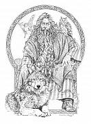 Wolf Drawings Framed Prints - Wizard III - The Family Portrait Framed Print by Steven Paul Carlson