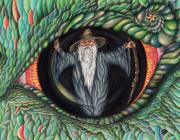 Eyeball Drawings Posters - Wizard in Dragons Eye Poster by Karen Musick