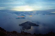 Crater Lake Sunset Photos - Wizard Island At Crater Lake by Adam Jewell