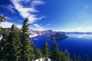 Crater Lake View Photos - Wizard Island At Crater Lake National by Natural Selection Craig Tuttle