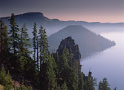 Crater Lake Sunset Photos - Wizard Island In The Center Of Crater by Tim Fitzharris