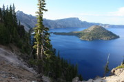 Crater Lake Prints - Wizard Island on Crater Lake Print by Carol Groenen