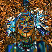 Tribal Art Paintings - Wodaabe Blue by Jann Paxton