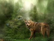 Animal Mixed Media Metal Prints - Wolf - Forest Spirit Metal Print by Carol Cavalaris