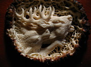 Antler Reliefs - Wolf and Deer - Antler Burr Belt Buckle by Dmitry Gorodetsky