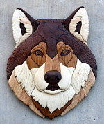 Intarsia Sculpture Framed Prints - Wolf Framed Print by Bill Fugerer