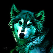 Rateitart Digital Art Prints - Wolf - Cyan Print by James Ahn
