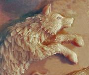 Wolf Reliefs - Wolf Detail from Bear Cub Bowl original clay by Dawn Senior-Trask