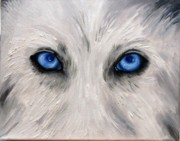 Wolf Eyes Framed Prints - Wolf Eyes Framed Print by Leah Saulnier The Painting Maniac