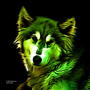 Rateitart Digital Art Prints - Wolf - Green Print by James Ahn