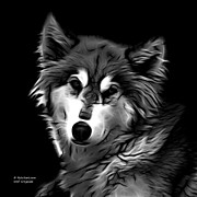 Rateitart Digital Art Prints - Wolf - Greyscale Print by James Ahn