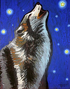 Animals Greeting Cards Painting Framed Prints - Wolf Howl Framed Print by Genevieve Esson