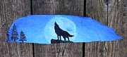 Night Sculpture Posters - Wolf Howl1 Poster by Monika Dickson
