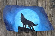 Moon Sculpture Posters - Wolf Howl2 Poster by Monika Dickson