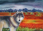 Yellowstone Painting Metal Prints - Wolf in the Autumn Tundra Metal Print by Harriet PeckTaylor
