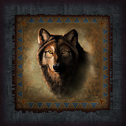 Dakota Painting Metal Prints - Wolf Lodge Metal Print by JQ Licensing
