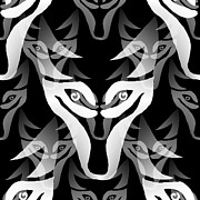 Moignard Prints - Wolf Mask Print by Barbara Moignard