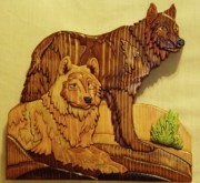 Intarsia Sculpture Framed Prints - Wolf Mates Framed Print by Russell Ellingsworth