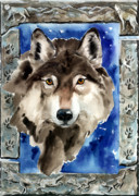 Nadi Spencer Painting Metal Prints - Wolf Metal Print by Nadi Spencer