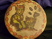 Puppies Mixed Media - Wolf pup drum by Angelina Benson