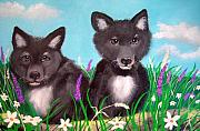 Puppies Framed Prints - Wolf pups Framed Print by Nick Gustafson