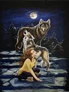 Pack Painting Originals - Wolf Song by Ann Beeching