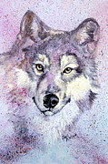 Hoops Paintings - Wolf Splatter by Leslie Hoops-Wallace