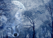 Winter Trees Mixed Media Metal Prints - Wolf Metal Print by Svetlana Sewell