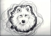 Animal Shelter Drawings - Wolf Totem by Carol Allen Anfinsen