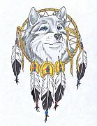 Catcher Drawings - Wolf Totem by Darl Papple