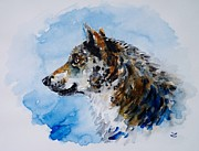 Print Card Framed Prints - Wolf Framed Print by Zaira Dzhaubaeva