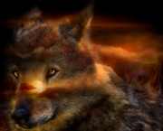 Wildlife Art Mixed Media Posters - WolfLand Poster by Carol Cavalaris
