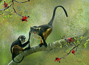Monkey Digital Art Prints - Wolfs guenon Print by Thanh Thuy Nguyen