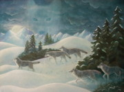 Snowscape Paintings - WolfSpirit by Bernadette Wulf