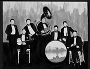 Big Bands Drawings - Wolverines Black and White by Mel Thompson