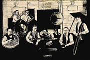 Bands Drawings Prints - Wolverines Recording Session Print by Mel Thompson