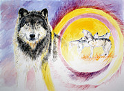 Kauai Artist Paintings - Wolves and full moon by Tamara Tavernier