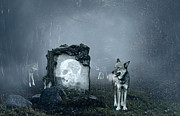 Haunted Forest Prints - Wolves guarding an old grave Print by Jaroslaw Grudzinski