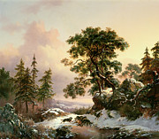 Frederick Framed Prints - Wolves in a Winter Landscape Framed Print by Frederick Marianus Kruseman