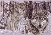 Wild Mixed Media Posters - Wolves in the Snow Poster by Morgan Fitzsimons
