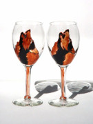 Hand Painted Glassware - Wolves on wine glass by Pauline Ross