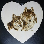 Wolf Pyrography - Wolves Pyrographic Wood Burn Heart Original 7.5 x 7.5 inch by Shannon Ivins